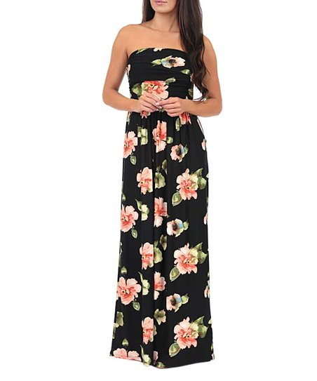 969fa07182023 California Trading Group Black Floral Ruched-Front Strapless Maxi ...