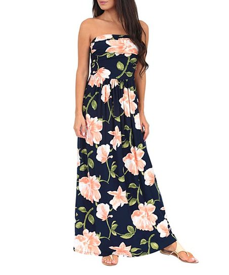 dfe0ca90e82bf love this product Navy & Soft Pink Floral Ruched-Front Strapless Maxi Dress