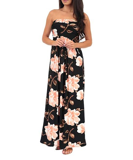 3f95f73cad304 Black & Soft Pink Floral Ruched-Front Strapless Maxi Dress - Women
