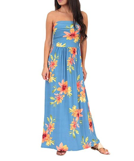 37a113b5be California Trading Group Denim Floral Ruched-Front Strapless Maxi ...
