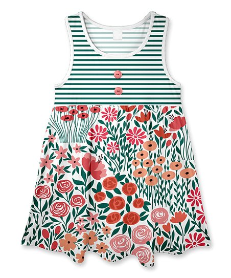 6020fc4746ce Penelope Plumm Dark Green & Pink Stripe Floral Sleeveless Dress ...