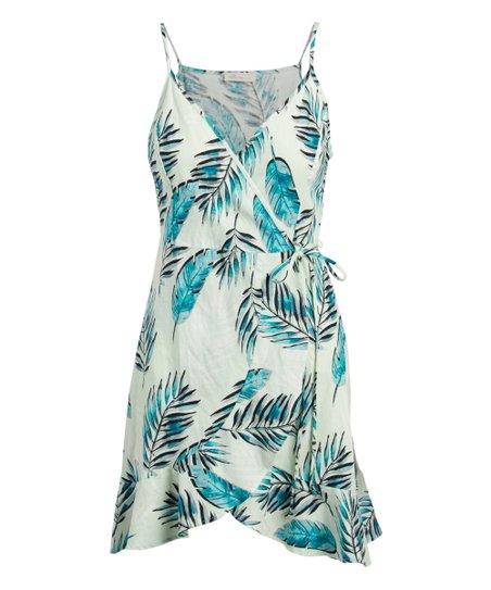 7c18b1679d love this product Green & White Leaf Linen-Blend Wrap Dress - Women