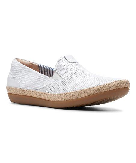 Clarks White Danelly Iris Leather Slip
