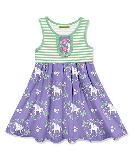 597850d70a57 love this product Green & Purple Unicorn Button-Front A-Line Dress - Girls