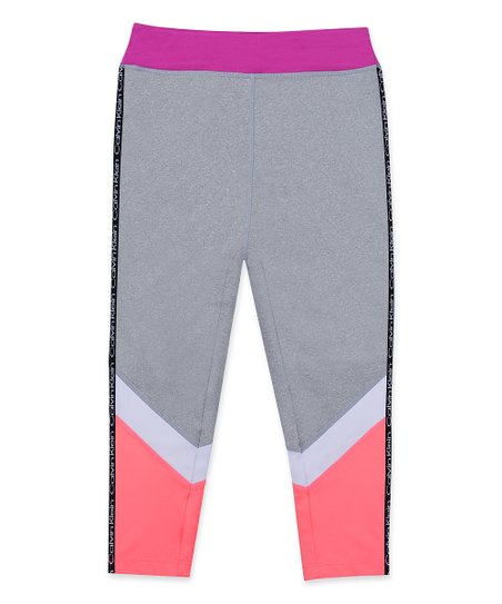 75215b3a1d78d love this product Slate Heather Color Block Logo-Stripe Capri Leggings -  Girls