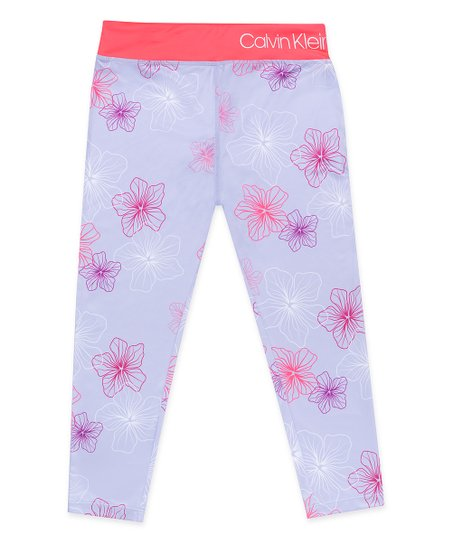 738117be84aca Calvin Klein Performance Iced Orchid Floral Logo Capri Leggings ...