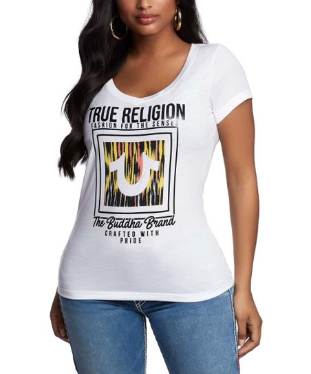 c4313526 love this product White & Black Ikat Horseshoe 'True Religion' Rounded V-Neck  Tee - Women