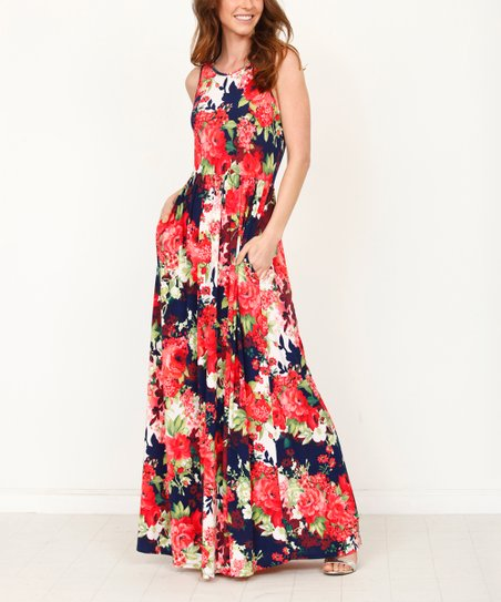 d2b09d6a8d egs by éloges Red   Navy Floral Pocket Maxi Dress - Women   Plus ...