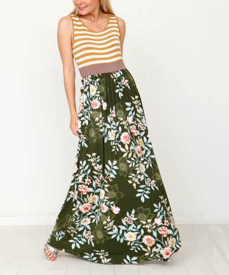 fafddd28fb2 love this product Mustard   Green Stripe Floral-Contrast Maxi Dress - Women    Plus