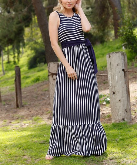 c1bfd3891a6 love this product Navy Stripe Ruffle Maxi Dress - Women