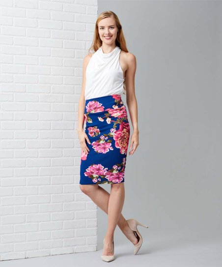 103dde87de love this product Navy & Pink Floral Tummy-Control Pencil Skirt - Women &  Plus