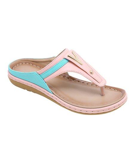 7be4755d69bfd Siketu Pink   Blue Color-Block Sandal - Women