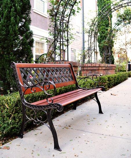 Innova Hearth U0026 Home Weathered Black Cross Web Cast Iron Garden Bench