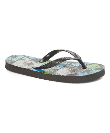 8422a35a love this product Gray & Green Palm Leaves Flip-Flop - Boys