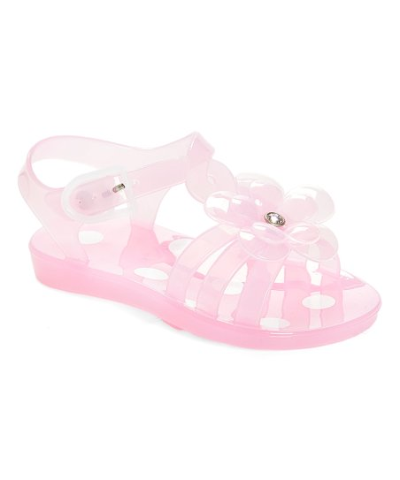 c68bf5a23 love this product Light Pink   White Rhinestone Flower Jelly Sandal - Girls