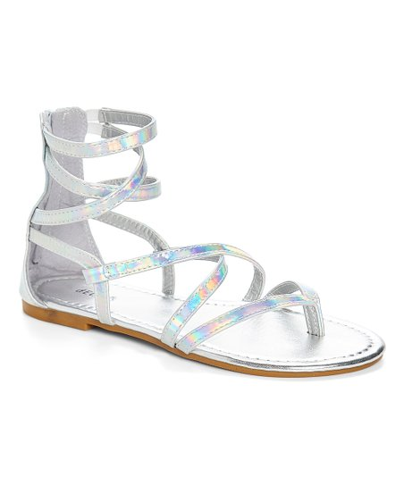 0546f5219438 love this product Silver Iridescent Gladiator Sandal - Women