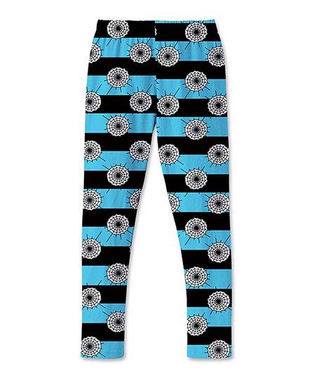 e512fa389f7d6 love this product Blue & Black Stripe Spider-Web Leggings - Toddler & Girls
