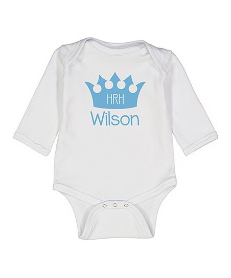 a150f4d164d3 love this product White & Blue Crown 'HRH' Personalized Long-Sleeve Bodysuit  - Newborn & Infant