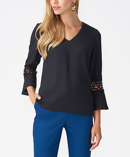 14e98e59fe love this product Black Lace-Detail Flare-Sleeve V-Neck Top - Women