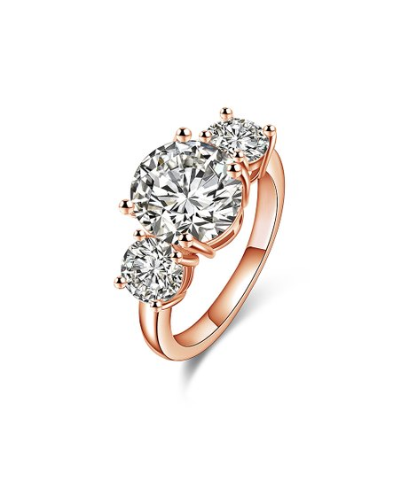 b06f22425 Barzel 18k Rose Gold-Plated Triple Ring With Swarovski® Crystals ...