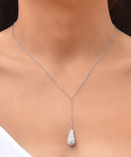 b50438d17 love this product Sterling Silver Teardrop Lariat Necklace With Swarovski®  Crystals