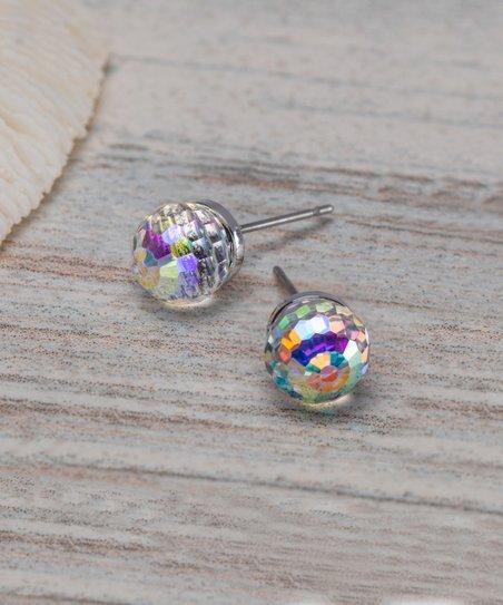 Callura Aurora Borealis Silvertone Disco Ball Stud Earrings With Swarovski Crystals