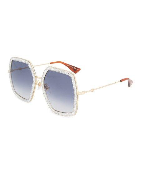 79eff365371 Gucci Goldtone   Silver Glitter Geometric Oversize Sunglasses ...