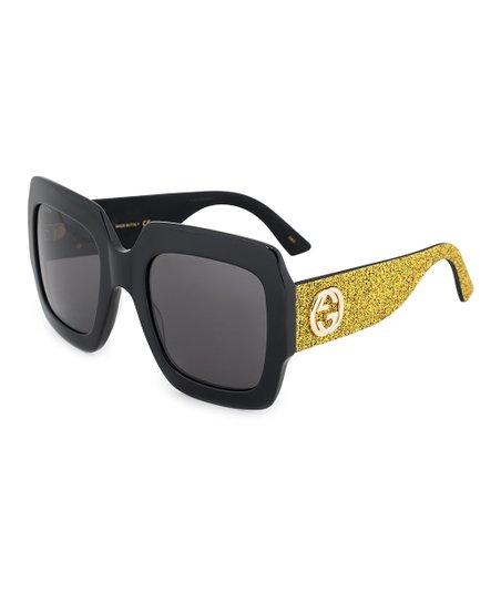 e66ae8d6917 Gucci Black   Goldtone Glitter Logo Oversize Square Sunglasses