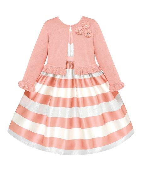 cbda9a5f5 Ivory Stripe A-Line Dress   Peach Floral-Applique Cardigan - Infant ...