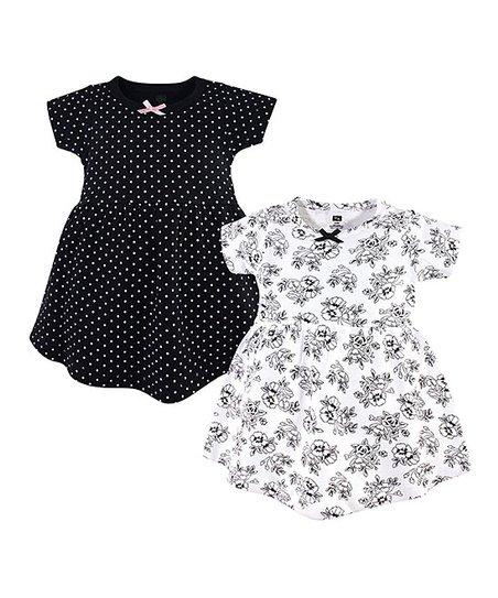 203a45809 Hudson Baby Black & White Pin Dot Floral Short-Sleeve A-Line Dress ...