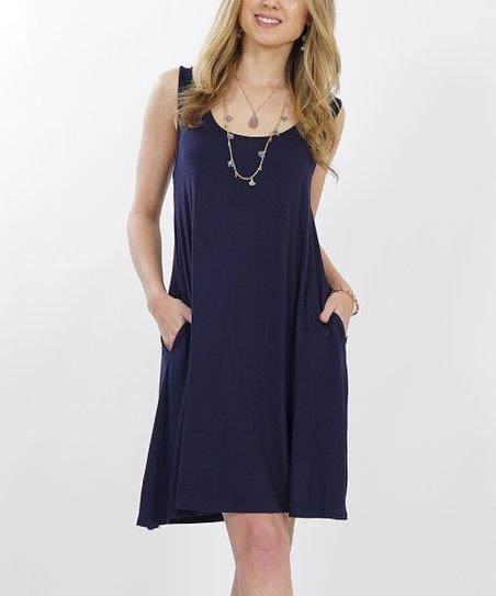 76a1ec02e78 love this product Navy Crewneck Sleeveless Straight-Hem Pocket Shift Dress  - Women   Plus