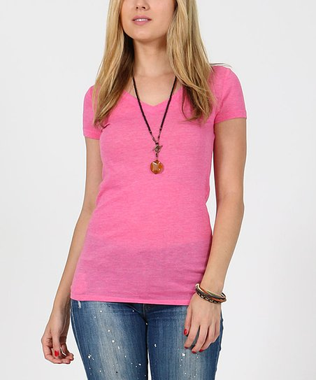 6fd72850ec9e love this product Pink V-Neck Melange Tee - Women