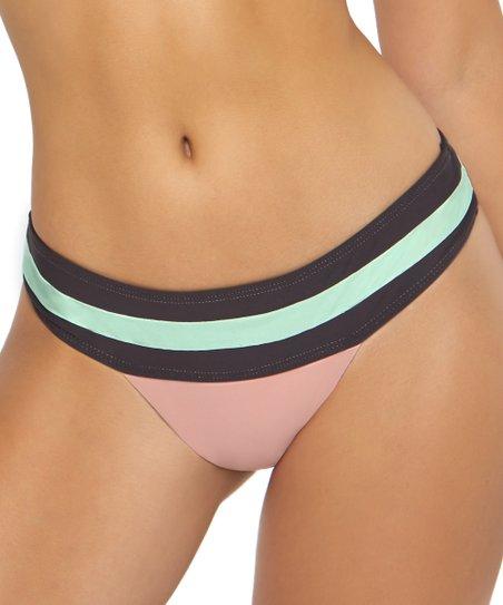 ddfb74568e0 PilyQ Black & Pink Color Block Band Teeny Coverage Bikini Bottoms ...