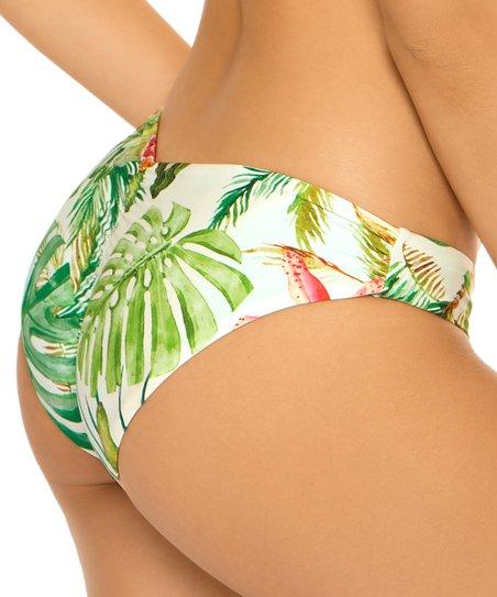 d019b32786ebb PilyQ Aqua & Green Floral Reversible Full Coverage Bikini Bottoms ...