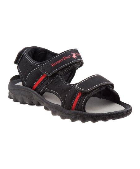 b630f188a Beverly Hills Polo Club Black   Red Stripe Sandal - Boys