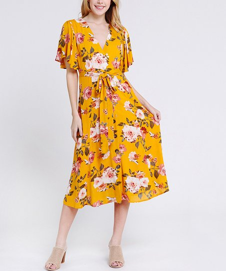 5536144537 love this product Mustard Floral Ruffle-Trim Button-Up Midi Dress - Women