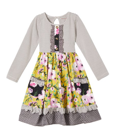 Mustard Pie Vintage Violet Maggie Ruffle-Front A-Line Dress - Toddler &  Girls