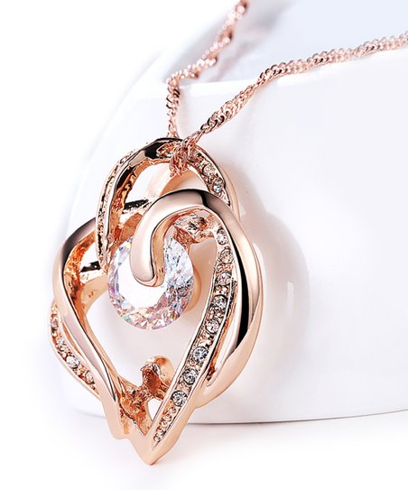 232d397d4006c Golden NYC Crystal & 18k Rose Gold-Plated Abstract Heart Pendant Necklace  With Swarovski® Crystals