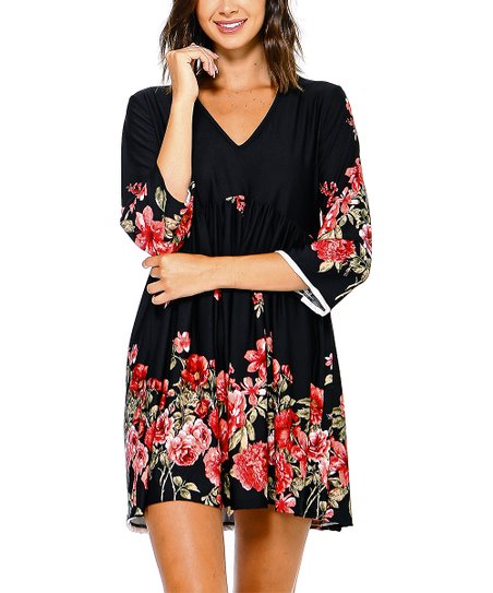 c52d6a2597bd love this product Black & Pink Floral Empire-Waist Dress - Women & Plus