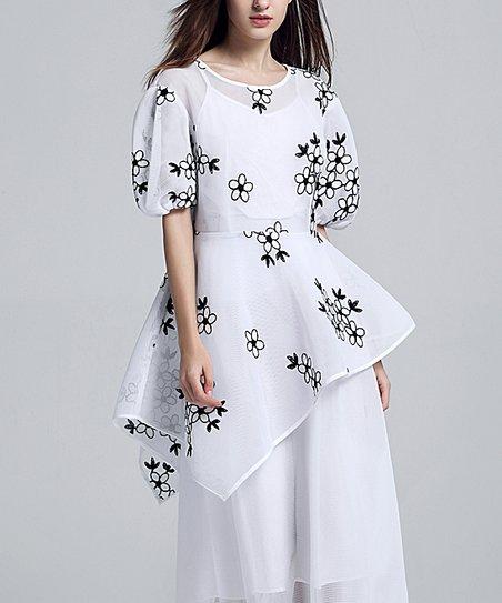 0512a66cecba love this product White Floral Puff Sleeve Asymmetrical Hem A-Line Dress -  Women