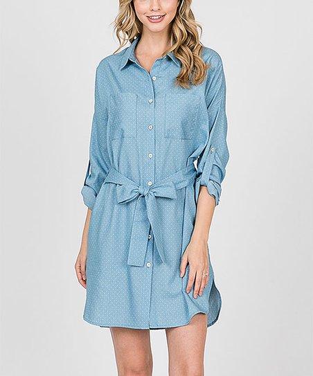 5979773358 i ivy Blue Chambray Dots Tie-Waist Shirt Dress - Women