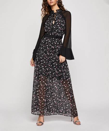 732e92f7630 love this product Black   Pink Floral Bell-Sleeve Keyhole Maxi-Dress - Women