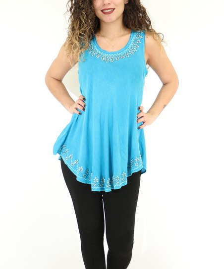 4933f97457625 love this product Turquoise Floral Sleeveless Top - Women   Plus