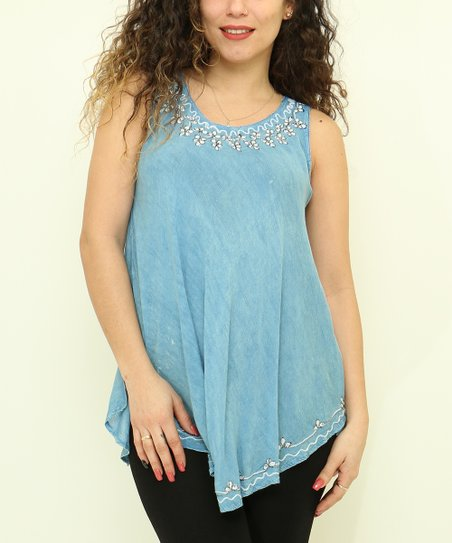 404db1aaffdd5 love this product Blue Floral Sleeveless Top - Plus