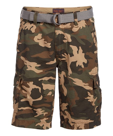 6ad9dfbe4e Wear First Warm Tan Camo Belted Cargo Shorts - Men | Zulily