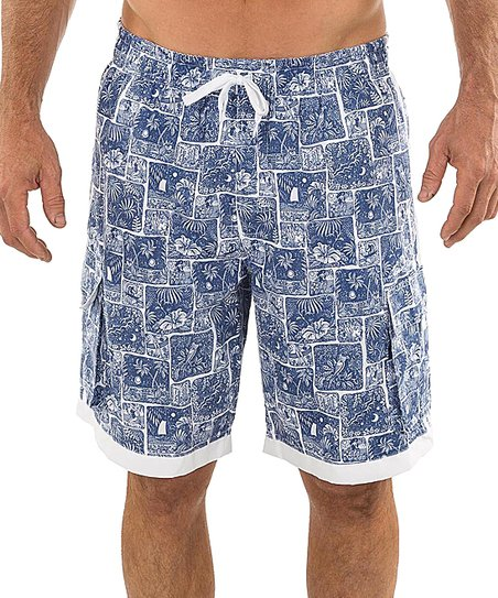 aaa0990082c47 love this product Navy Beach Collage Contrast-Trim Cargo Boardshorts - Men