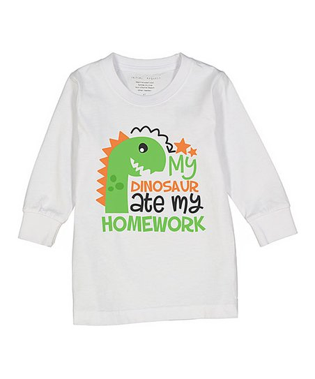 Initial Request White My Dino Ate My Homework Long Sleeve Tee Toddler Kids Zulily