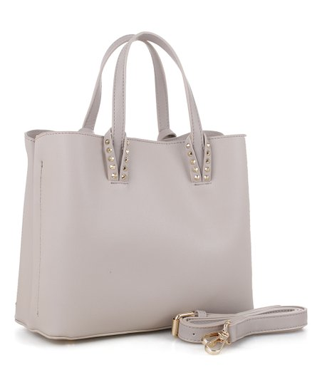 Alyssa Light Gray Stud Detail Satchel Zulily