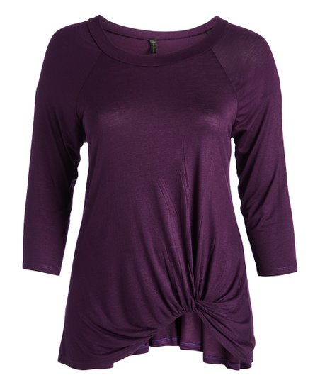 b2e0ace43dce84 love this product Violet Twist Three-Quarter Sleeve Tee - Plus