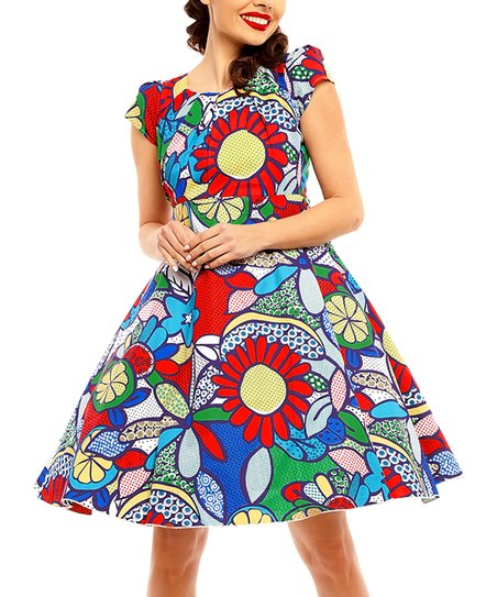 fd9ceb70684 love this product Red Pop Art Cap-Sleeve Fit   Flare Dress - Women   Plus